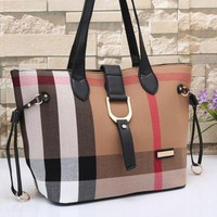 VONE05 Burberry Women Leather Tote Handbag Shoulder Bag Satchel Tagre-