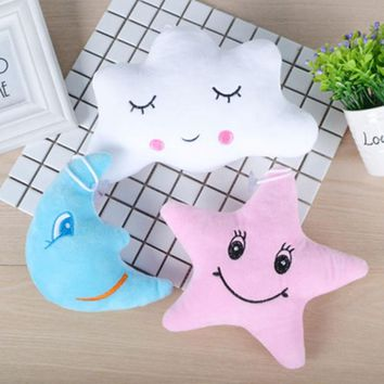1Pcs Cute Cartoon Stars and Moon Dolls Pendant Cute Flaky Clouds Emoticon Pillow Cloth Lady Pillow Cloth Doll
