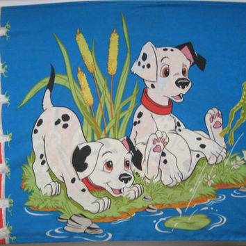Vintage Disney 101 Dalmatians Dogs Puppies Standard Size Pillowcase Craft Fabric Clean Girl Boy Kids Bedding Bedroom Decor Clean Used