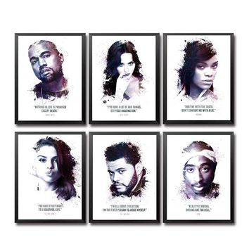 Kanye West Katy Perry Selena Gomez The Weeknd 2Pac singer Art Canvas Poster Prints Home Wall Decor Painting