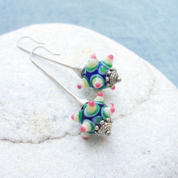 Smiley Dots Happy Lampwork Earrings