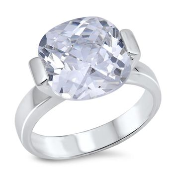 Cushion Cut Cubic Zirconia Solitaire Engagement Ring Sterling Silver Size 9
