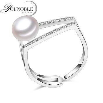 YouNoble 100% real freshwater pearl ring for women 925 sterling silver adjustable ring with 7-8mm AAAA natural pearl jewelry