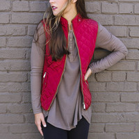 Longwood Gardens Burgundy Quilted Padded Vest With Pockets