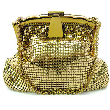 Gold Mesh Evening Bag. Whiting and Davis Small Purse. Art Deco Style. Special Occasion. Made in USA. Vintage 1950s Handbag. Great Condition