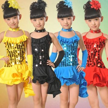 Sequined Dance Girls Kids Children Performance Stage Dancewear Costumes Ballroom Latin Salsa Dance Tutu Dress S1796