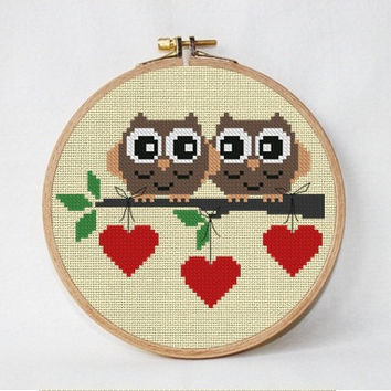 Owls Cross Stitch Pattern love Cross stitch  Heart cross stitch Valentine cross stitch  modern cross stitch digital download