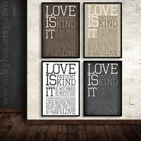Poster, 1 Corinthians 13. Subway Art. Overside print art. Wedding poster. 1 Cor 13. Wedding gift.