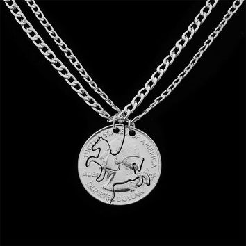 24 Pc/Lot Horse Puzzle Coin Pendant Chain Necklace Animal Charm Jewelry Best Friends Couple Lovers Collar Choker Christmas Gift