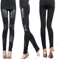 Faux Leather Leggings 3 Striped