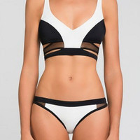 Contrast Color Block Cut Out Bikini