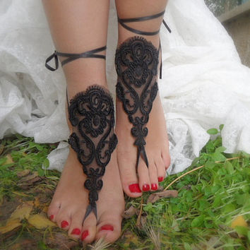 wedding,black lace sandals,beach wedding