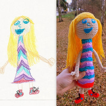 Original Gift - Crocheted and Stuffed Toy from Kids Drawing, Made to Order