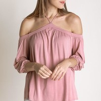 Sing It Now Mauve Spaghetti Strap Cold Shoulder Top