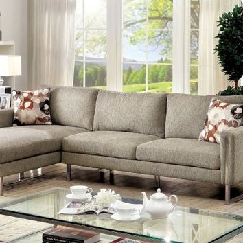 2 pc Lauren II collection contemporary style pewter chenille fabric upholstery sectional sofa