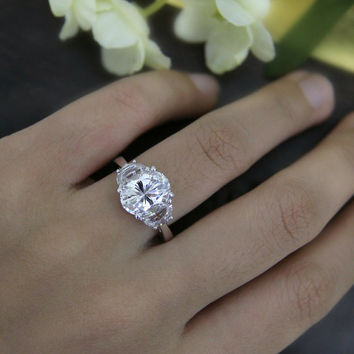 4.20 ct Oval Cut Diamond Simulant Engagement Ring-Wedding Ring-Promise Ring-Bridal Ring-Three Stone Statement-Sterling Silver [R7412]
