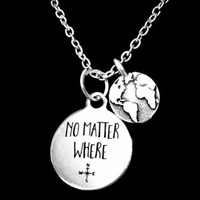 No Matter Where Long Distance Earth Globe Map Best Friends Sister Gift Necklace