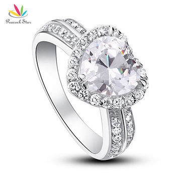 Clear 6 2 Carat Heart Cut Created Diamond Solid 925 Sterling Silver Wedding Anniversary Engagement Ring Jewelry CFR8011