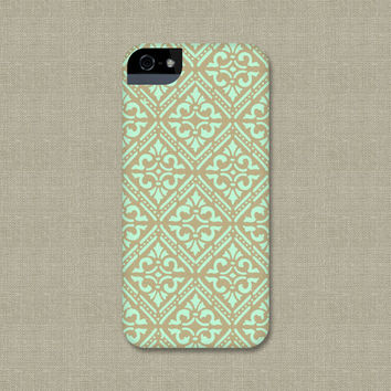 Mint and Gold Bohemian iPhone Case, Mint Green and Gold Diamond Pattern Boho Samsung Galaxy S3 / S4,