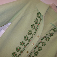 Green Sweater with Floral Trim, Vintage Button Down Sweater by Talbott Traveler, Size 34, Bright Green Sweater