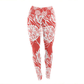 "Gill Eggleston ""Protea Strawberry White"" Red Flowers Yoga Leggings"