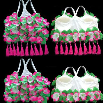 Women Lady Hawaii Flower Bra With Tassel Pendant Hula Dance Performance Accesories Summer Beach Tropical Party Supplies