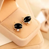 womens Earrings Jewelry  Brinco Pendientes Super Cute smile cat bow Opal Pearl Earrings (Color: Black) = 1668786372