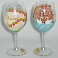 Hand Painted Wine Glass - Romantic Scene - Pair of Swans on the river - Roses, Lily Spray, Glowing fireflies, Stars with Rhinestones - one