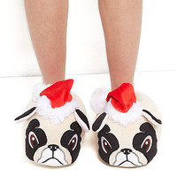 Stone Christmas Pug Slippers
