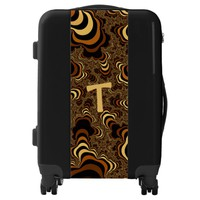 Cool brown stripped fractal. Monogram. Luggage