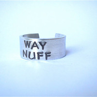 rowing ring, crew jewelry, way nuff adjustable crew ring, handstamped wide cuff style crew ring, rowing jewelry, gift for rower, unisex ring