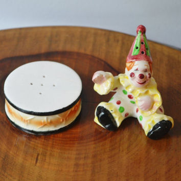 Vintage Salt And Pepper Shakers, Clown And Drum, Collectible Salt And Pepper,Vintage Circus