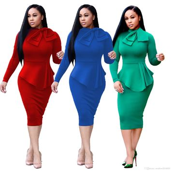 Ladies Long Sleeved Fashion Autumn Evening Cocktail Party Bodycon Midi Dress Womens Fall Clubwear Pencil Dresses Solid Color