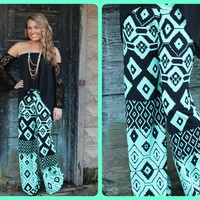 Bangles Boutique — Black and Mint Diamond Aztec Print Palazzo/Yoga Pants