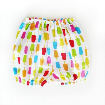 Baby girl bloomer bubble shorts, Cute popsicle print