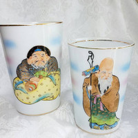 Vintage Lily China Hand Painted White Drinking Cups, Japanese Painted Glasses with Asian Man, Japanese Gods of Good Fortune, Japanese  Cup