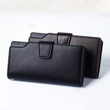 Pu Leather Casual Clutch Bag Business 11 Card Slots Wallet Phone Bag For Men