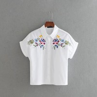 2017 New vestidos Women retro flower and plants embroidery Blouses work wear short sleeve casual Feminine Blusas Tops LS1250