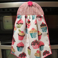 Pink Cupcake Food Quilted Kitchen Towel ,Hanging Dish Towel, Hanging Tea Towel, Hanging Hand Towel, Hanging Kitchen Towel