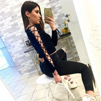 2016 New Fashion Autumn T Shirt Women Black Long Lace Up Sleeve Crop Top Sexy Off Shoulder Top Poleras De Mujer