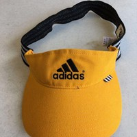 LMFONC. ADIDAS YELLOW VISOR HAT W/ LOGO STRETCH FIT SIZE LARGE SHIPPING!