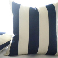 Navy blue and off white-  3' striped pillow cover, cushion covers nautical pillows beach decor with zipper closure