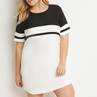Contrast-Striped Shift Dress