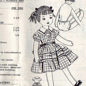 1950s Vintage Rag Doll Sewing Pattern from Adele Bee Ann Sewing