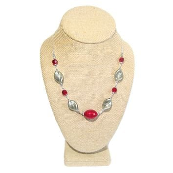 Murano Glass Red Gray Twist Sterling Silver Necklace
