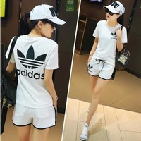 """Adidas"" Summer Fashion Casual Clover Letter Print Short Sleeve Set Two-Piece Sportswe"
