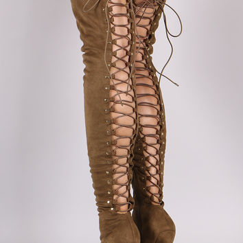 Suede Back Studded Lace Up Pointy Toe Boots