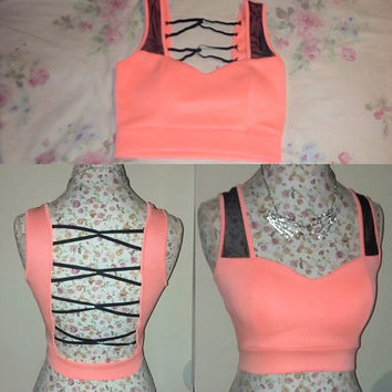 Neon peach bralet with mesh