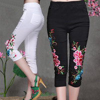 2017 Summer Embroidery Women Casual Pants Capris Black And White New Fashion Vintage Slim Skinny Pants Palazzo Pants Plus Size