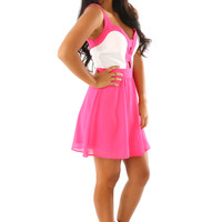 All I Want Dress: Pink/White